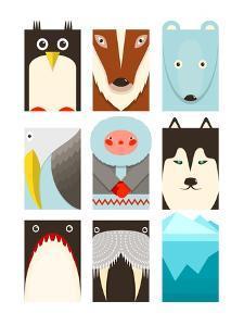 Flat Arctic Symbols Set. North Pole Animals Collection. Vector Layered Eps8 Illustration. by Popmarleo