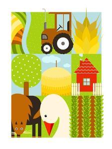 Flat Childish Rectangular Agriculture Farm Set. Country Design Collection. Raster Variant. by Popmarleo
