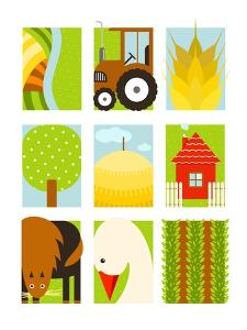 Flat Childish Rectangular Agriculture Farm Set. Country Design Collection. Vector Layered Eps8 Illu by Popmarleo