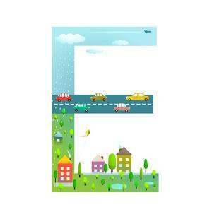 Flat Style Alphabet Letter E for Kids with Cars and City. for Children Boys and Girls with City, Ho by Popmarleo