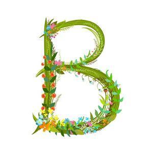 Flower Calligraphy Floral Elegant Decorative Alphabet Letter B. Intricate Sign. Floral Summer Color by Popmarleo