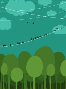 Forest and Birds Sitting on Wires Graphic Design. Nature Landscape Background. Vector Eps8 Illustra by Popmarleo