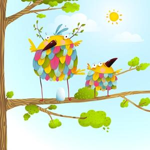 Funny Bird on Tree Family Mother and Nestling Egg Kid in Nature. Colorful Bird Family Mother and Ch by Popmarleo