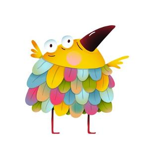 Funny Colorful Bird for Kids Cartoon. Amazing Brightly Colored Small Birdie. Funny Cute Child Greet by Popmarleo