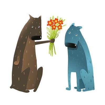Funny Dog in Love Presenting Flowers to Friend. Dog Giving a Present to a Friend Colorful Cartoon I