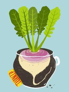 Growing Turnip with Green Leafy Top in Container. Root Vegetable Container Gardening Illustration. by Popmarleo
