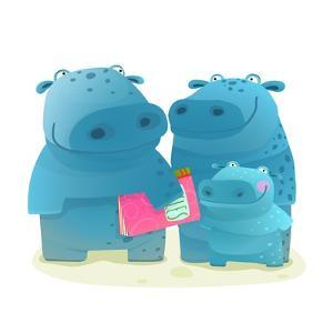 Hippo Family Mother Father and Kid with Book. Happy Fun Watercolor Style Zoo Animal Family for Chil by Popmarleo