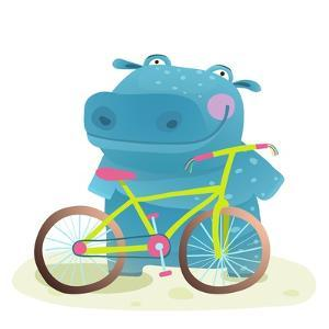 Hippo with Bicycle. Happy Fun Wild Animal Doing Bicycle Sport for Children Illustration. by Popmarleo
