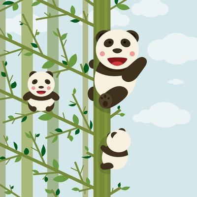 Kawaii Bears in Forest. Funny Kawaii Panda Bears in Trees. Vector Illustration Eps8.