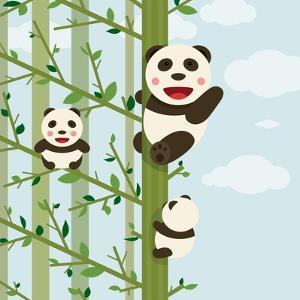 Kawaii Bears in Forest. Funny Kawaii Panda Bears in Trees. Vector Illustration Eps8. by Popmarleo