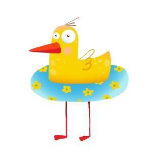 Kids Humorous Yellow Duck with Swimming Circle. Yellow Baby Bird Cartoon Cute Childish Drawing. Tra by Popmarleo