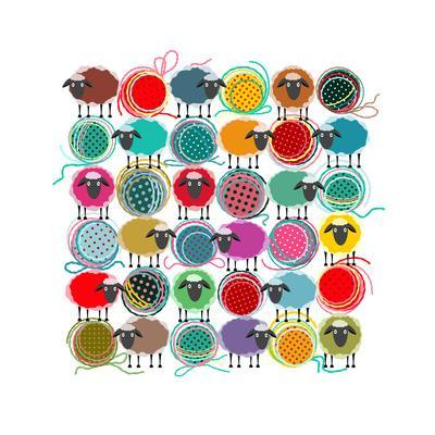 Knitting Yarn Balls and Sheep Abstract Square Composition. Vector EPS 8 Graphic Illustration of Bri