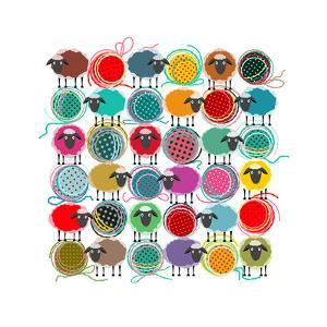 Knitting Yarn Balls and Sheep Abstract Square Composition. Vector EPS 8 Graphic Illustration of Bri by Popmarleo