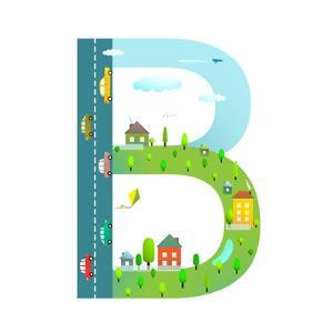 Letter B of the Latin Alphabet for Kids. Fun Alphabet Letter for Children Boys and Girls with City, by Popmarleo