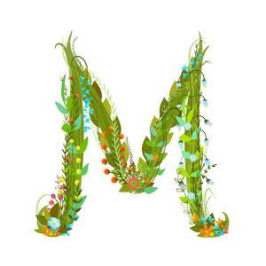 Letter M Flower Calligraphy Floral Elegant Decorative Alphabet. Floral Colorful Calligraphy Design by Popmarleo
