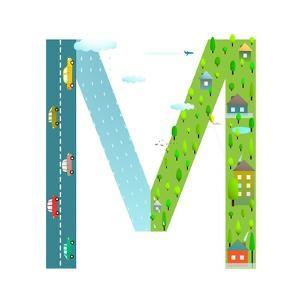 Letter M of the Latin Alphabet Funny Cartoon ABC for Children. for Children Boys and Girls with Cit by Popmarleo