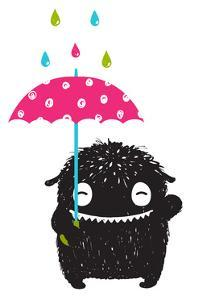 Monster for Kids with Umbrella under Colorful Rain Drops. Happy Funny Childish Little Monster with by Popmarleo