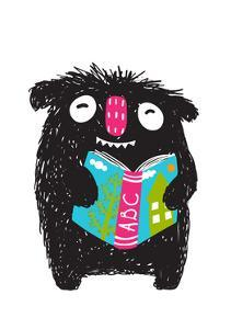 Monster Reading ABC Book Cartoon for Kids. Happy Funny Little Monster Education and Reading Picture by Popmarleo
