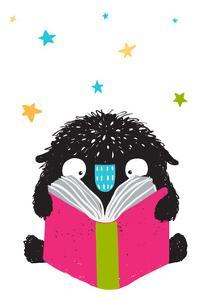 Monster Reading Book Cartoon for Kids. Happy Funny Little Monster Education and Reading, Picture Fo by Popmarleo