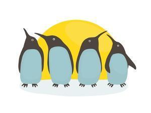Penguins and Sun. Illustration of Penguins Birds Standing. Vector Eps8 by Popmarleo