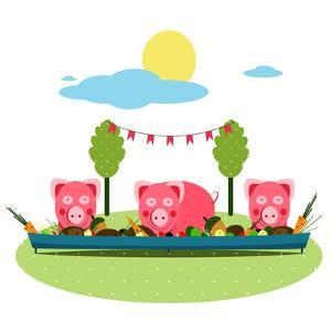 Pigs Eating Food at Farm. Funny Small Pigs Having Party Vector Illustration. Eps8 No Effects. by Popmarleo