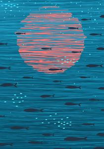 Pink Sunset and Fish Underwater Cartoon Background. Vector Eps8 Layered Illustration. No Effects. by Popmarleo