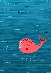 Pink Whale and Fish Underwater Cartoon Background. Raster Variant. by Popmarleo