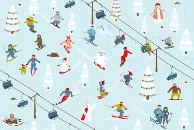 Ski Resort Pattern with Snowboarders and Skiers