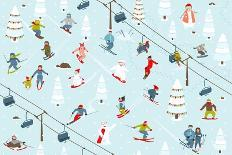 Knitting Yarn Balls and Sheep Abstract Square Composition. Vector EPS 8 Graphic Illustration of Bri-Popmarleo-Art Print