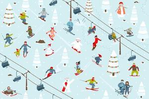 Ski Resort Pattern with Snowboarders and Skiers by Popmarleo
