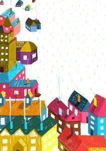 Small Town or City with Houses Roofs Landscape. Colorful Hand Drawn Sketchy Pencil Drawing Feel Ill by Popmarleo