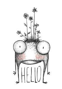 Strange Hand Drawn Monster with Flowers Greeting Card. Mutant Cartoon Creature, Character Funny Com by Popmarleo
