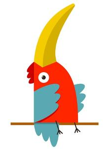 Toucan Bird with Big Beak Sitting. Colorful Cartoon Exotic Red Bird. Vector Illustration Eps8 by Popmarleo