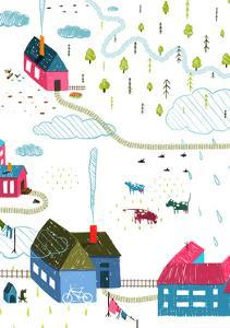 Town or Village Rural Landscape with Forest and Little Houses Cows on White. Colored Hand Drawn Ske by Popmarleo