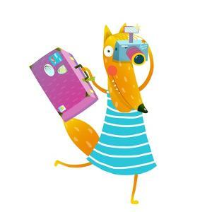 Traveling Fox Tourist with Suitcase and Camera. Funny Wildlife. Cartoon Characters for Children. Ve by Popmarleo