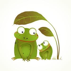 Two Frogs Mother and Baby Childish Animal Cartoon. Hand Drawn Watercolor Style Drawing of Animals. by Popmarleo