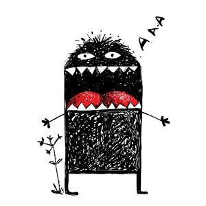 Ugly Character Monster Screaming. Black Funny Creature Scribble, Bizarre Humorous Creative Characte by Popmarleo
