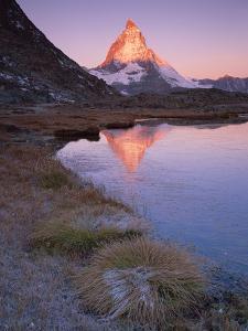 Matterhorn (4,478M) at Sunrise with Reflection in Riffel Lake, Wallis, Switzerland, September 2008 by Popp-Hackner