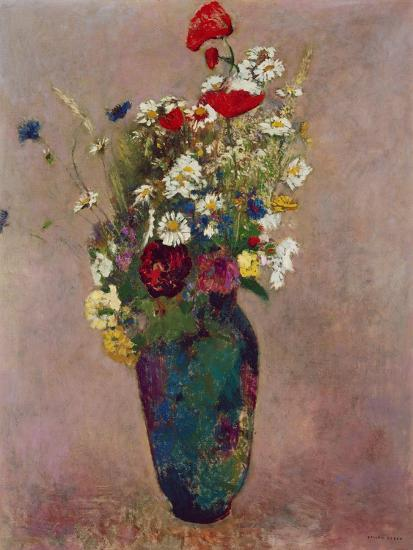 Poppies and other flowers in a vase-Odilon Redon-Giclee Print