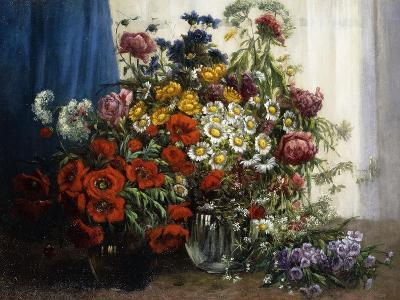 Poppies, Chrysanthemums, Peonies and other Wild Flowers in Glass Vases-Constantin Stoitzner-Giclee Print