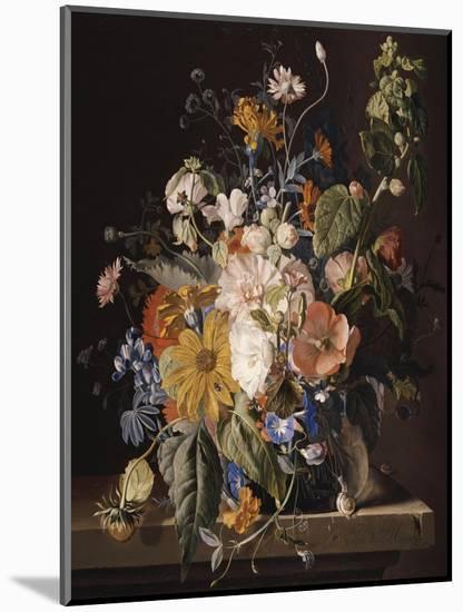 Poppies, Hollyhock, Morning Glory, Viola, Daisies, Sweet Pea, Marigolds and Other Flowers in a Vase-Jan van Huysum-Mounted Premium Giclee Print