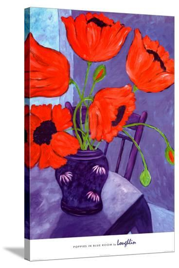 Poppies in Blue Room-Loughlin-Stretched Canvas Print