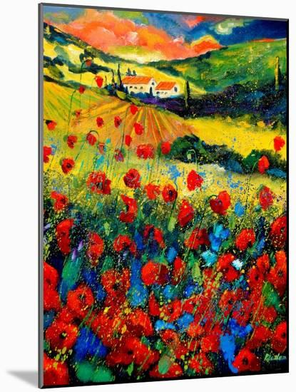 Poppies In Tuscany-Pol Ledent-Mounted Art Print