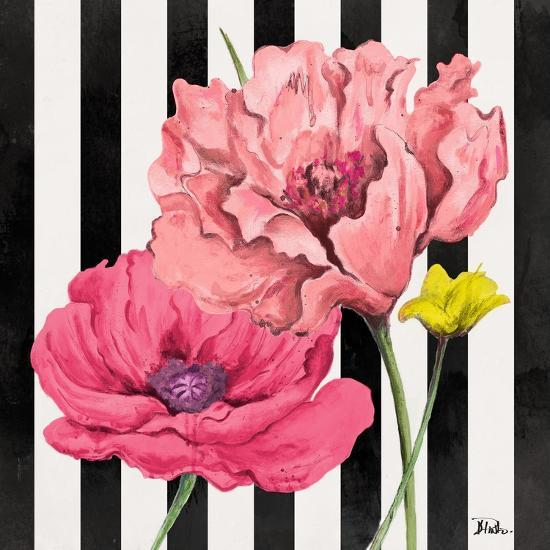 Poppies on Stripes I-Patricia Pinto-Art Print