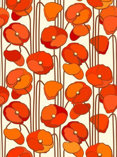 Poppies. Seamless Background.- isveta-Art Print