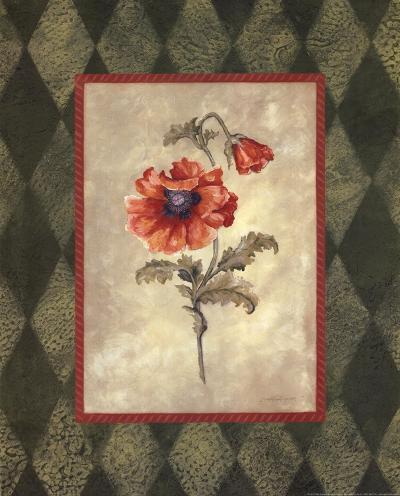 Poppy II W-Green Border-Stephanie Marrott-Art Print