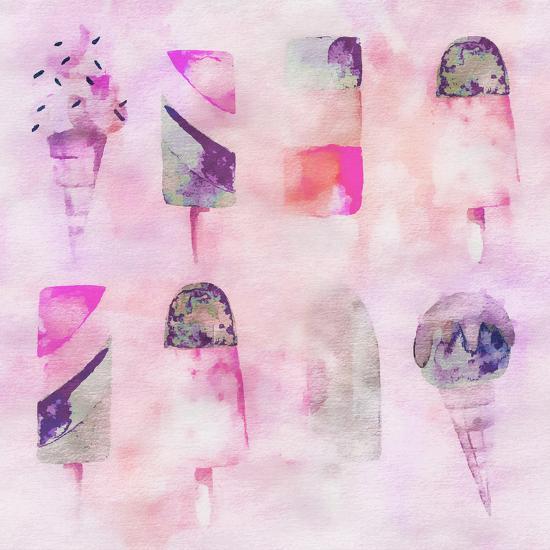 Popsicle Icecream Watercolor - Square 2-Lebens Art-Art Print