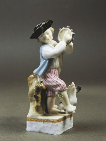 Porcelain Figurine of Young Tambourine Player, Paris Production--Giclee Print