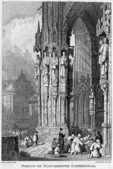 Porch of Regensburg (Ratisbo) Cathedral, Germany, 19th Century-J Lewis-Giclee Print