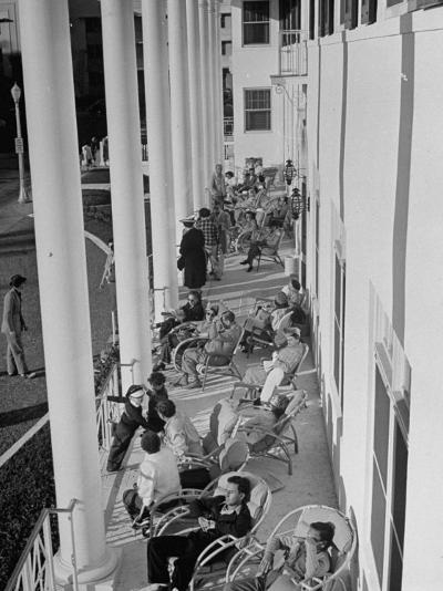 Porch-Sitting, One of Miamians Major Outdoor Sports, White House Hotel-Alfred Eisenstaedt-Photographic Print